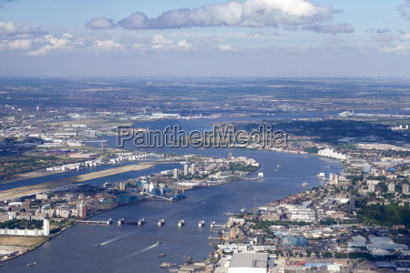 aerial view of thames barrier river