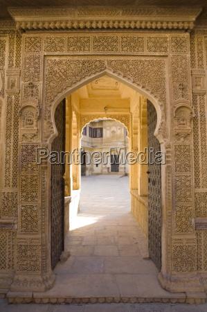 ornate palace doorway jaisalmer western rajasthan