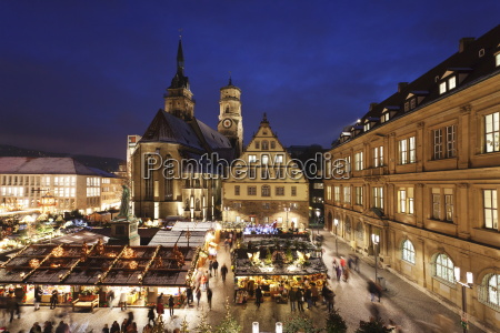 christmas fair on schillerplatz square with