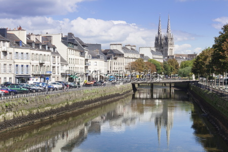 saint corentin cathedral reflecting in the