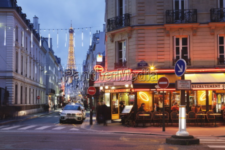 cafe and brasserie and eiffel tower
