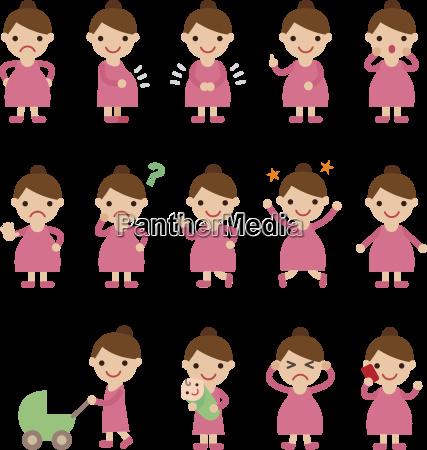 pregnant woman set of various poses
