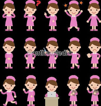 nurses in pink uniform various poses