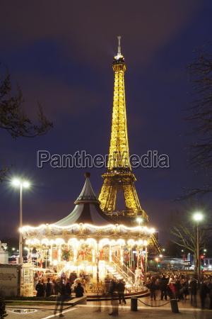 karussell, mit, eiffelturm, paris, ile, de, france, frankreich, europa - 20849059