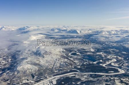 aerial view of arctic landscape frozen
