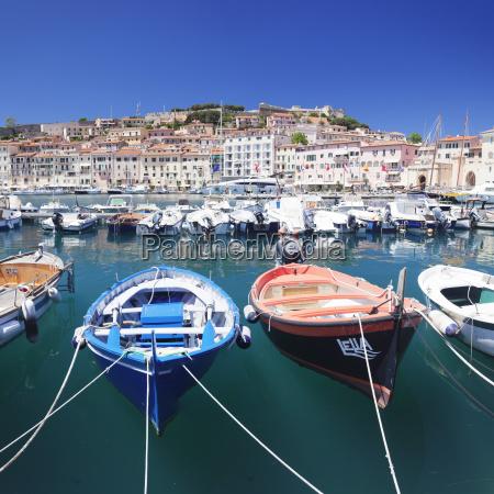 harbour with fishing boats portoferraio island