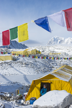 prayer flags and the everest base