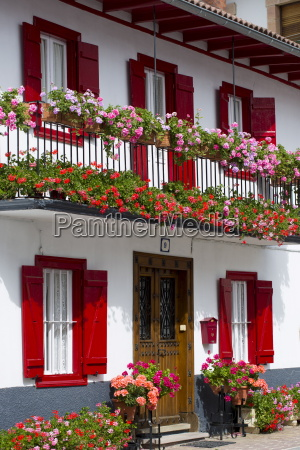 typical basque townhouse in town of