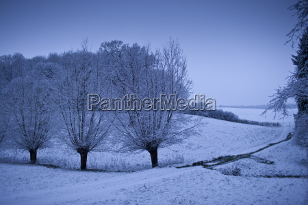 traditional snow scene in the cotswolds