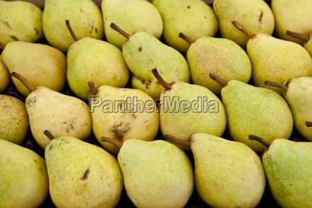 pears on sale at food market
