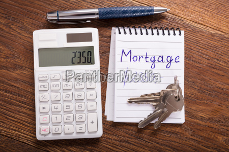 mortgage concept on wooden desk