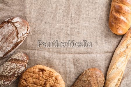 baked bread on linen cloth