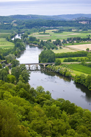 the river dordogne viewed from on