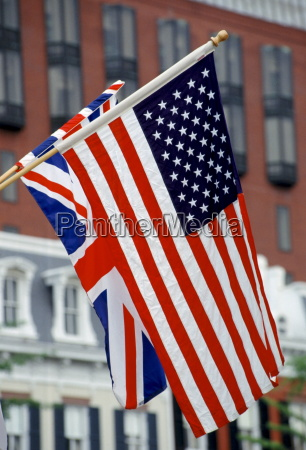 british union jack flag alongside american