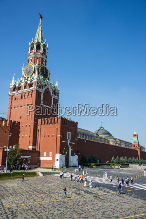 tower of the kremlin on red