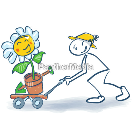 stick figure with a flower on