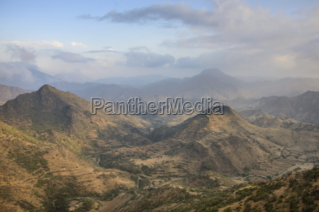 view over the mountains along the