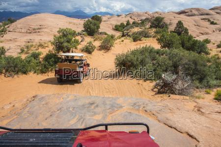 hummer driving on the slickrock trail