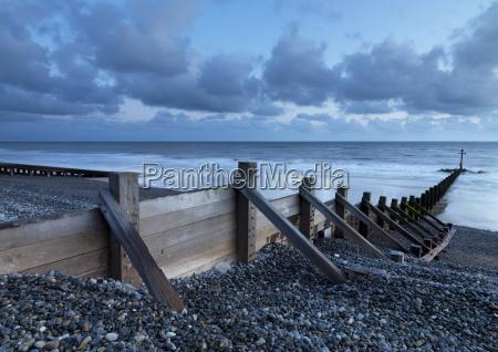 sea defenses on the pebbly beach