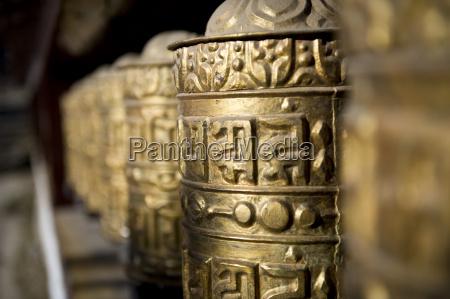 buddhist prayer wheels namche gompa monastery