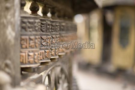 prayer wheels swayambhu monkey temple kathmandu