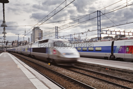 a high speed tgv train arrives