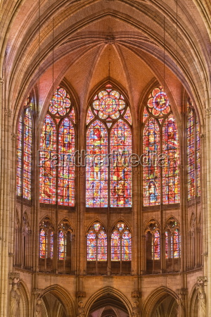 stained glass windows above the choir