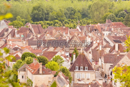 looking down on the rooftops of