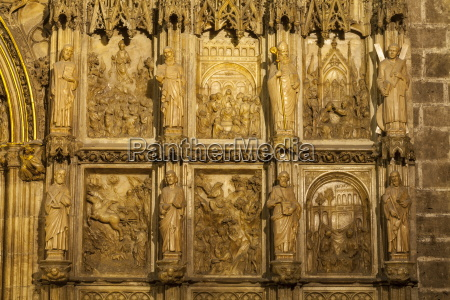 gothic stone carvings inside the chapter