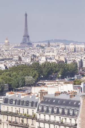 the eiffel tower over the rooftops