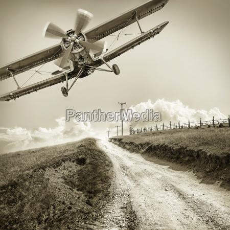 vintage biplane against the sky