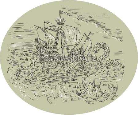 grosses schiff turbulente seeschlangen oval zeichnung