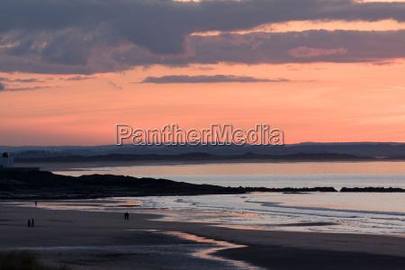 sunset bamburgh northumberland england united kingdom