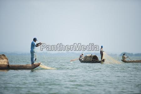 fishing boats on kaptai lake in