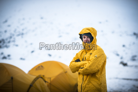 a mountaineer at ama dablam base