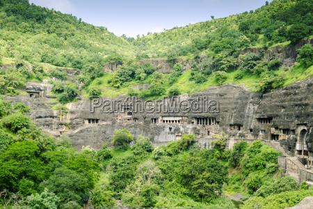 general view of the ajanta caves