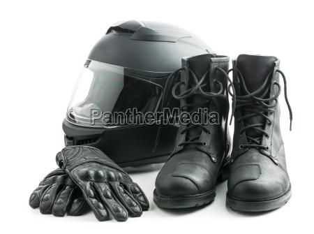 motorradhelm handschuhe und stiefel