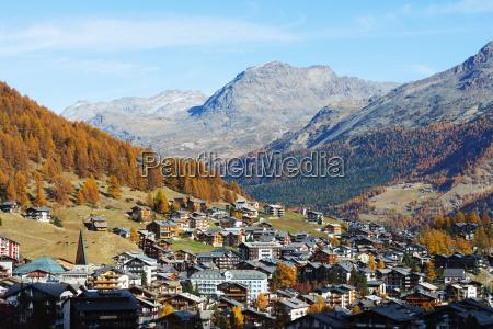 saas fee resort in autumn valais