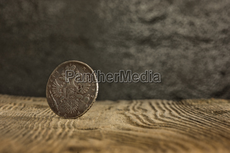 closeup of old russian coin on