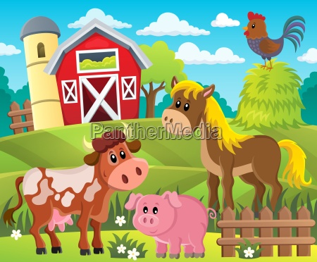 farmland with animals theme 1