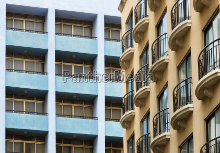 french balconies contrasting with the postmodern