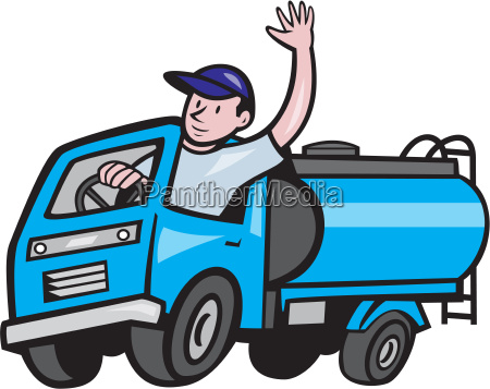 baby tanker truck driver waving cartoon