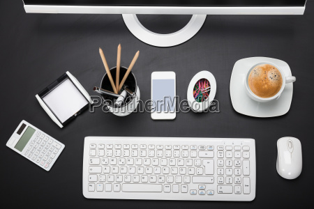 an office equipment on desk