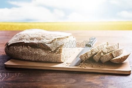 sliced bread on wooden desk