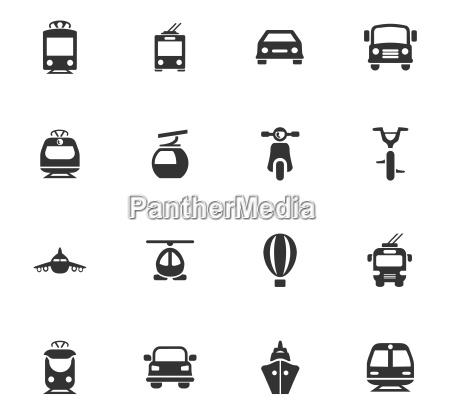 oeffentliche verkehrsmittel icons set