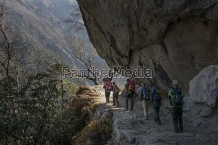nepal khumbu everest region trekkers descending