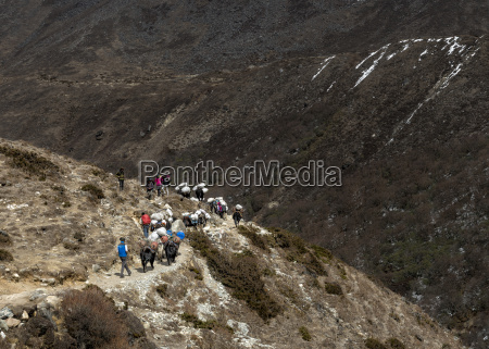 nepal himalaya khumbu trekkers and pack