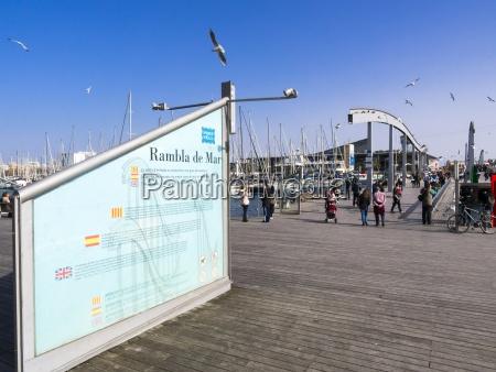 spain barcelona pedestrian bridge at harbor