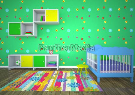 leere kinderzimmer mit gruenem hintergrund