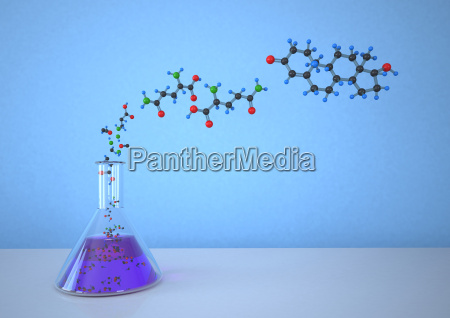 konische flasche mit molekularer struktur vor